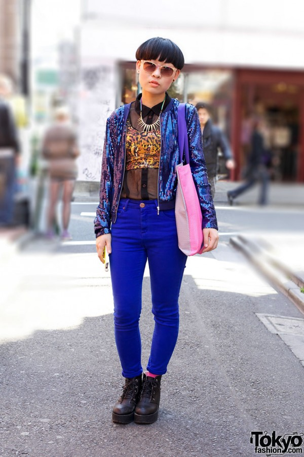 Blue Sequin Top & Blue Pants in Harajuku