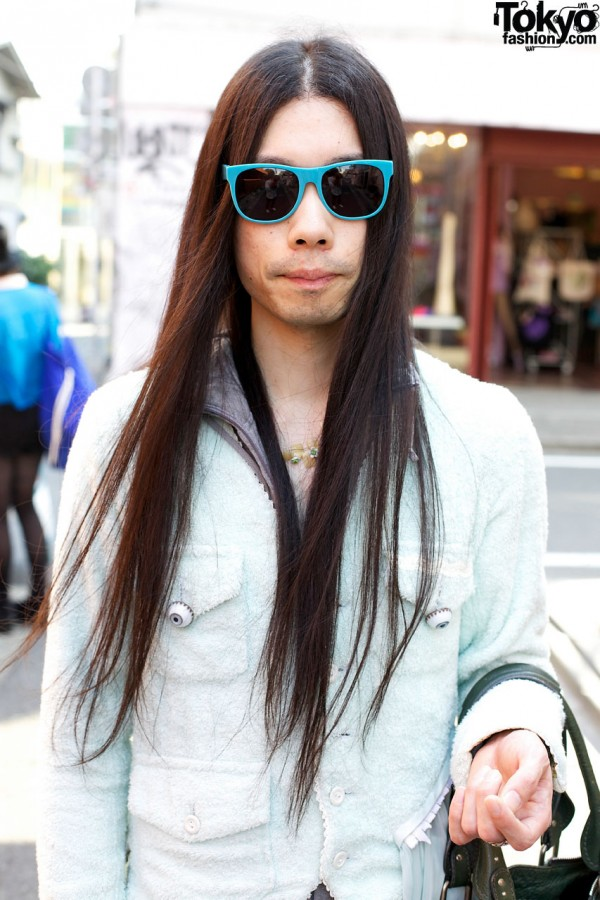 Long hair & blue sunglasses in Harajuku