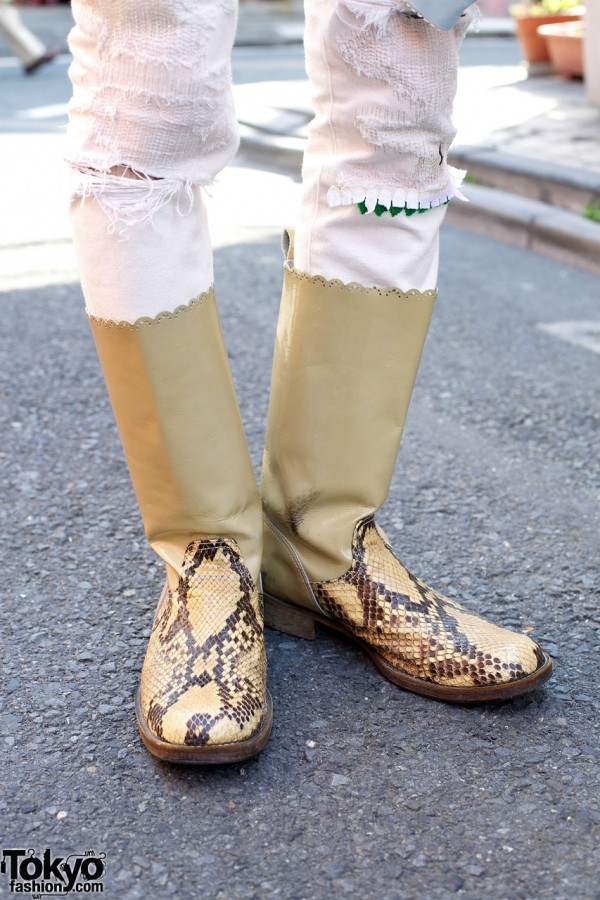 Undercover reptile boots in Harajuku