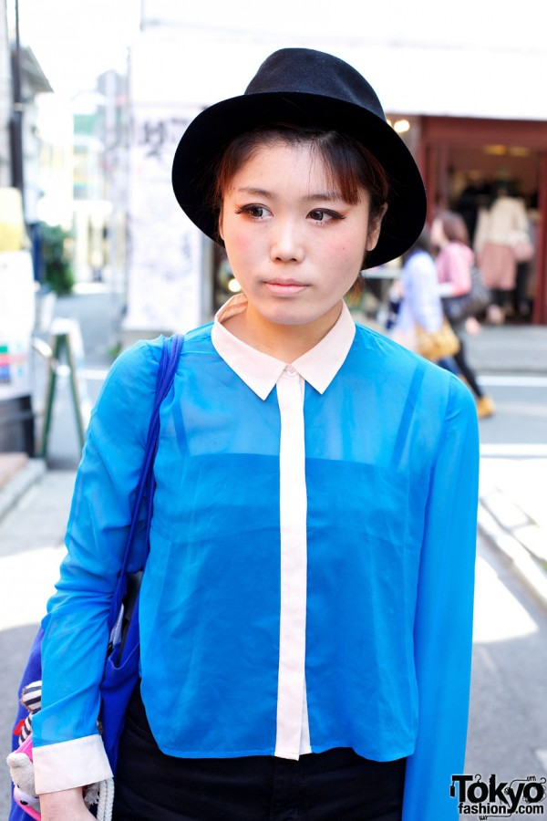 Felt hat & blue blouse w/ white trim