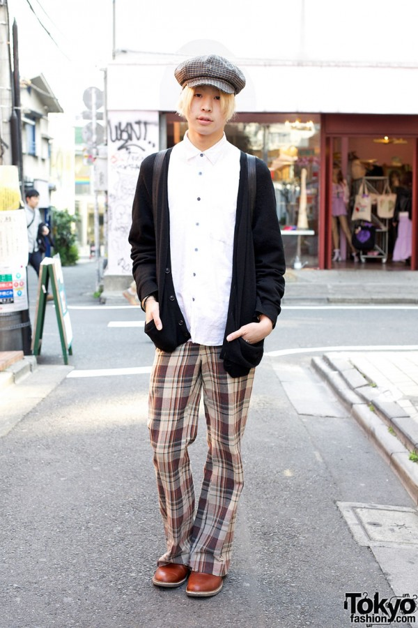 Guy's Resale Plaid Cap & Pants w/ Uniqlo Cardigan