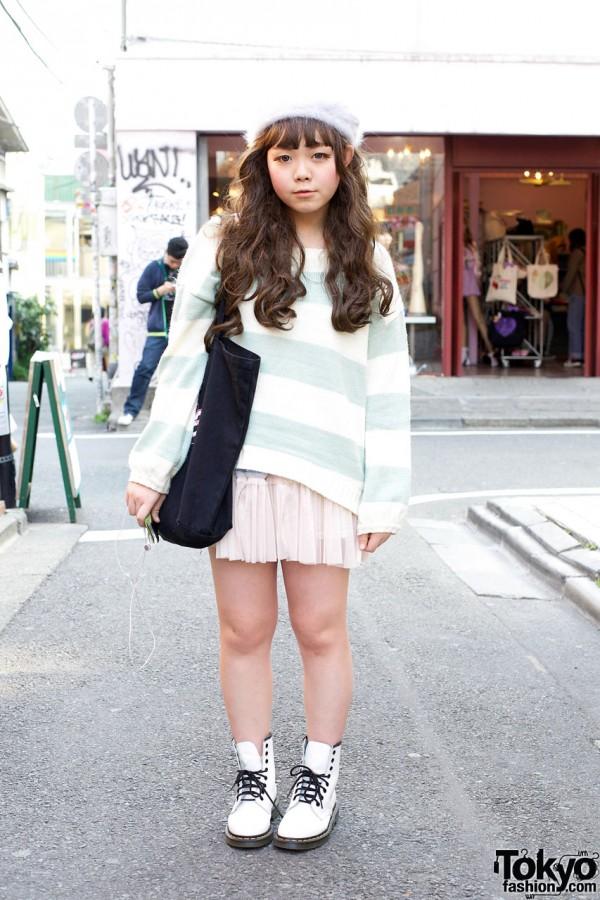Angora Beret, Striped Top & Labyrinth Chiffon Skirt