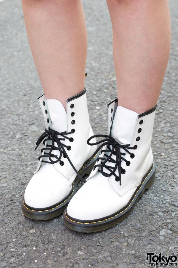 White Dr. Martens boots w/ black soles & laces