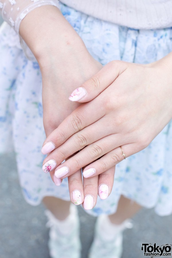 Embellished nails & tiny gold ring in Harajuku