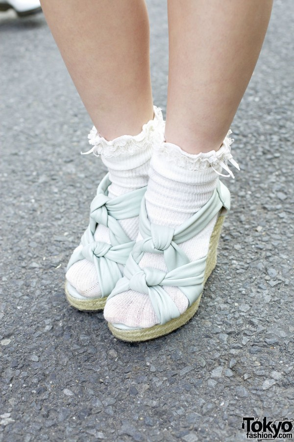 Lucy wedge sandals w/ white socks in Harajuku