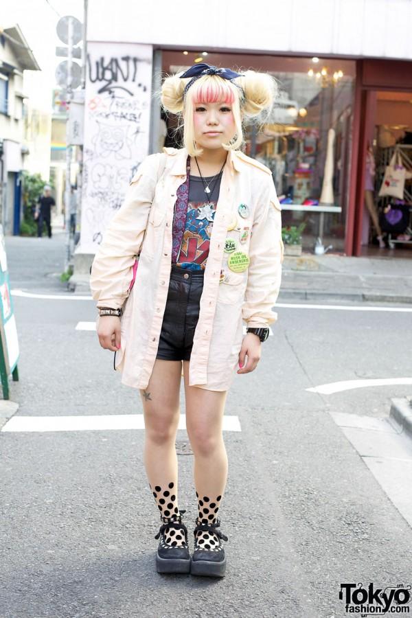 Harajuku Girl's Banana Republic Safari Shirt & Tattoo Tights