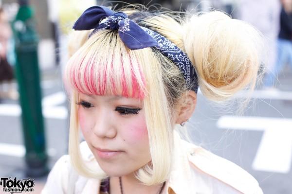 Blonde double buns & bandana