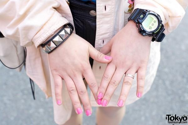 G-Shock watch & studded leather bracelet