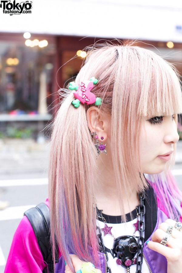 Pastel ponytail & broken heart hair clip