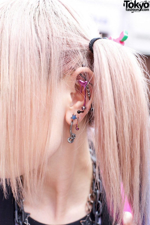 Bejewelled ear studs in Harajuku