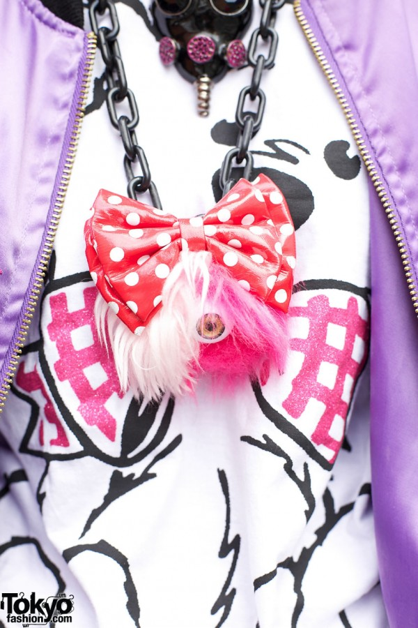 Polka dot bow & eyeball necklace