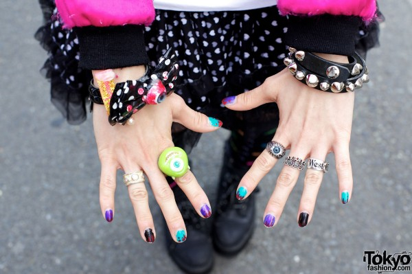 Eyeball rings & bracelet in Harajuku