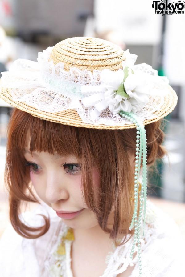 Decorated straw hat in Harajuku
