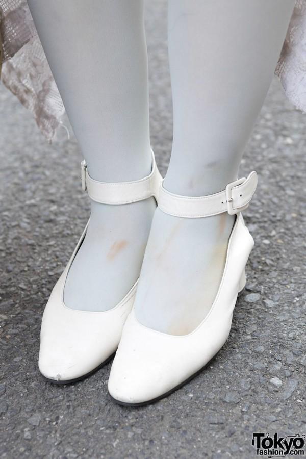 White pumps w/ ankle straps