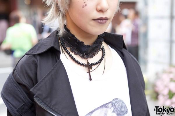 Lace Choker & Cross Necklace