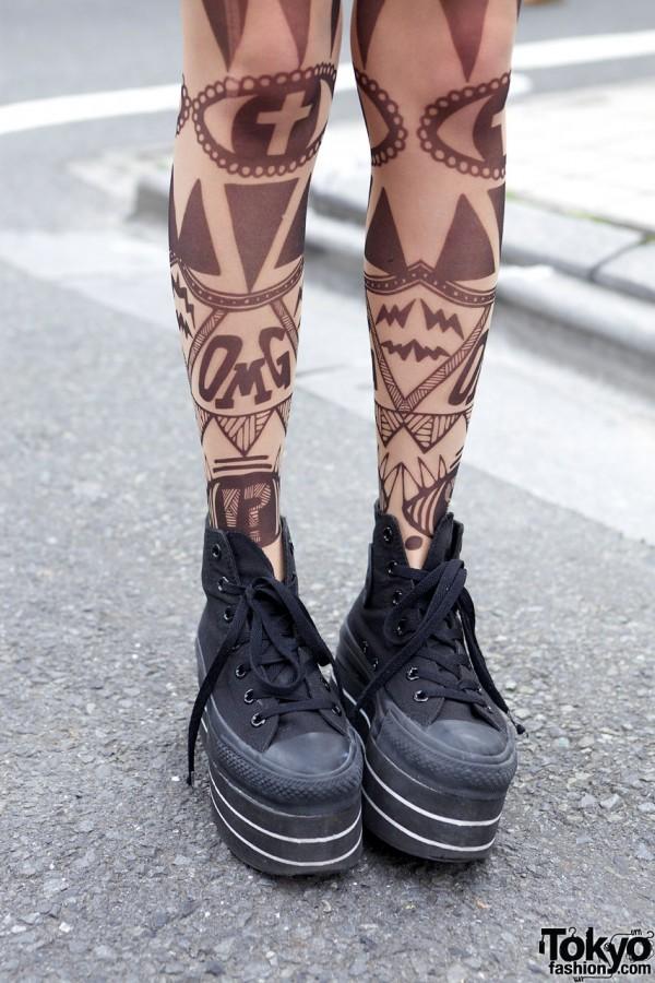 Mam x Choco Moo Tattoo Tights