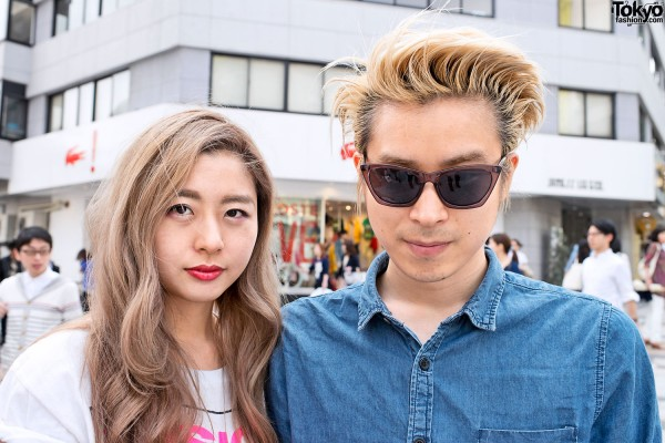 Stylish Blonde Japanese Girl & Guy in Harajuku
