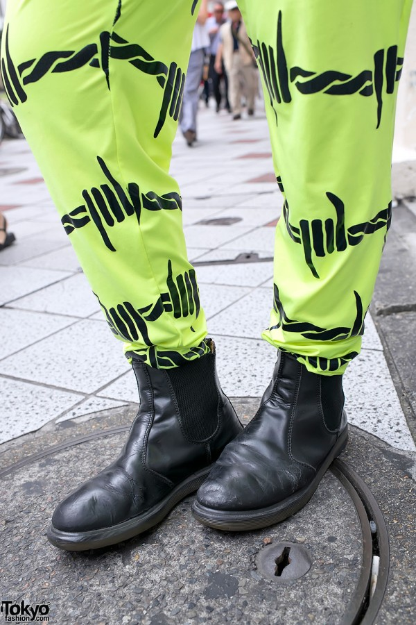 Neon Pants and Black Leather Boots
