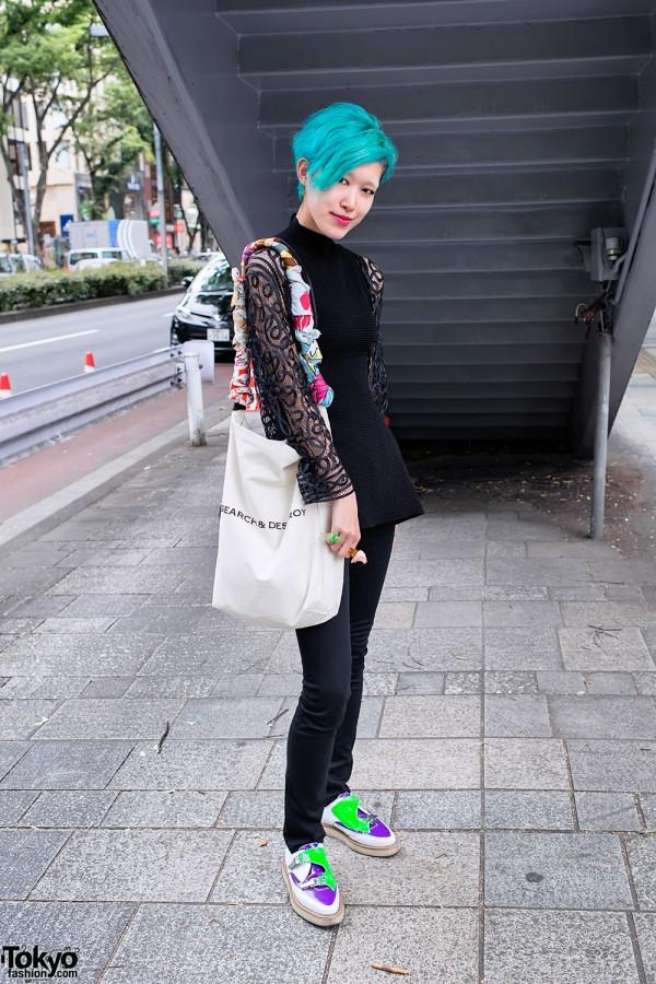 Blue Hair, Search & Destroy Bag & Colorful Mouse Bracelet in Harajuku
