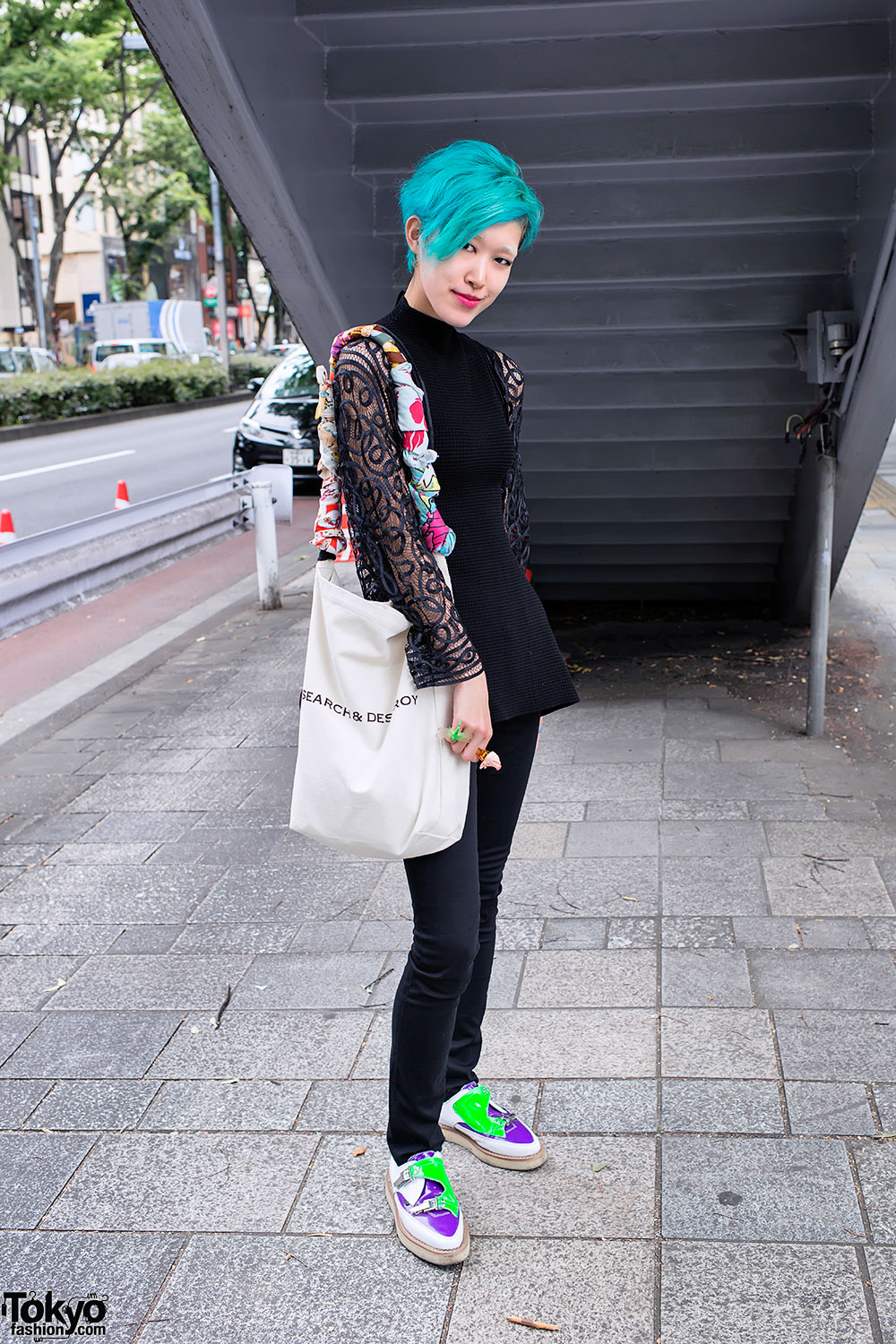 Blue Hair Search Destroy Bag Colorful Mouse Bracelet In Harajuku