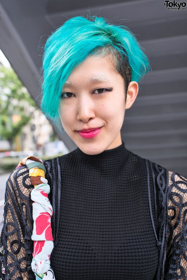 Blue Hair & Net-Sleeve Top in Omotesando