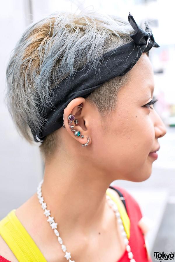 Blue Hair, Ear Piercings & Earrings