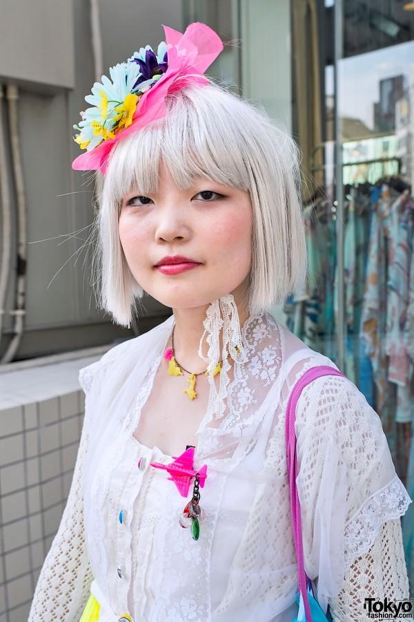 Silver Hair & Lace Top in Harajuku