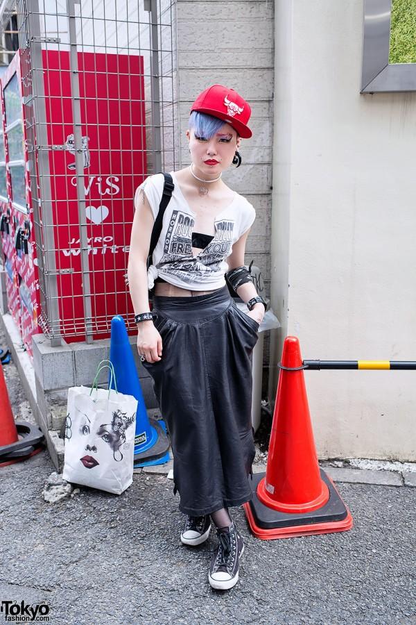Marina in Harajuku w/ Blue Hair, Spikes, Studs & Piercings