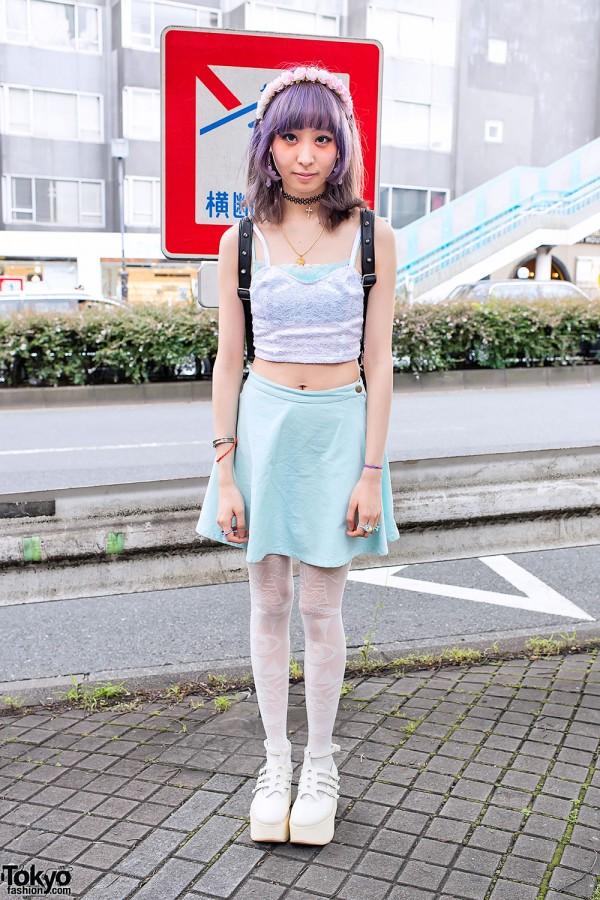 Pastel Skirt & Choco Moo Tights in Harajuku