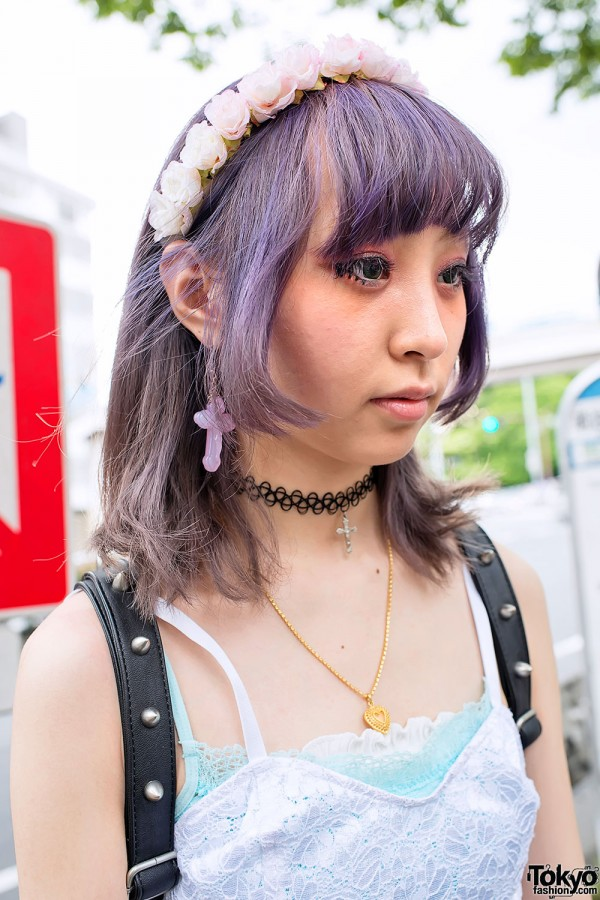 Tattoo Necklace & Lavender Hair