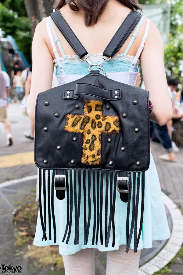 Leather & Leopard Fringe Backpack
