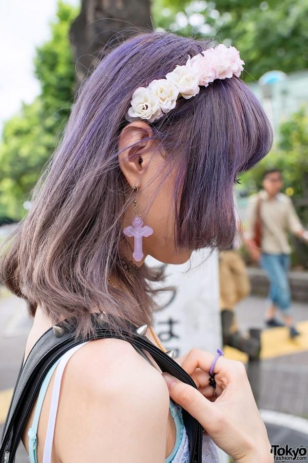 Flower Headband & Cross Earring in Harajuku