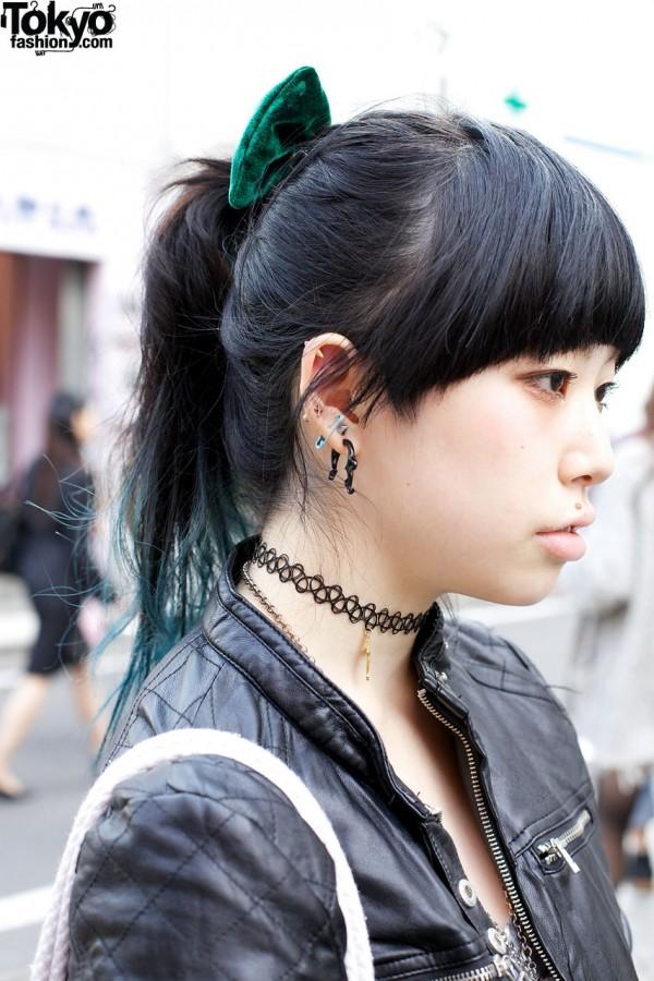 Ear studs & safey pin in ear