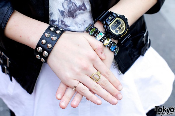 Leather wristband, rings & G-Shock watch