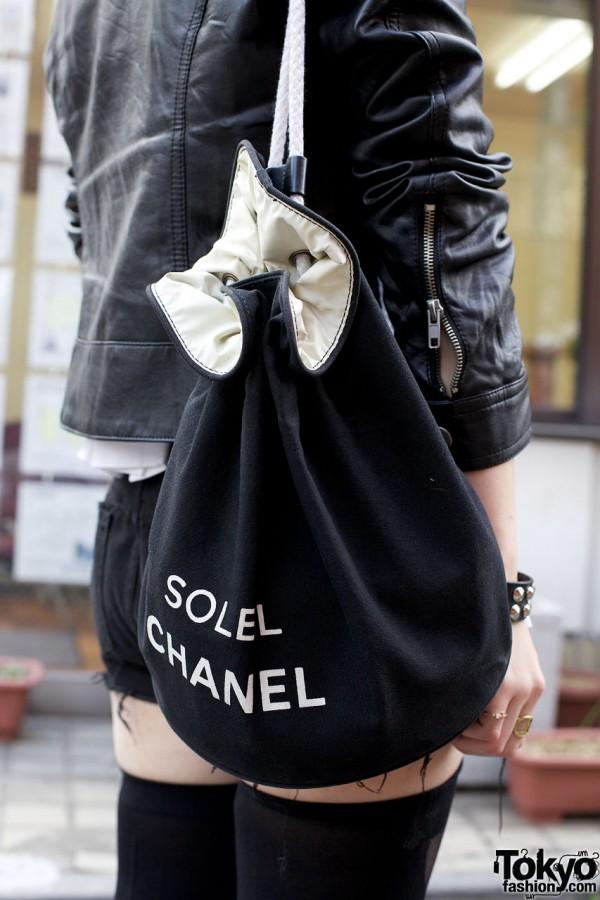 Chanel fabric tote bag