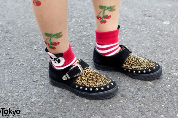 Cherry tattoo tights & Candy Stripper panda socks
