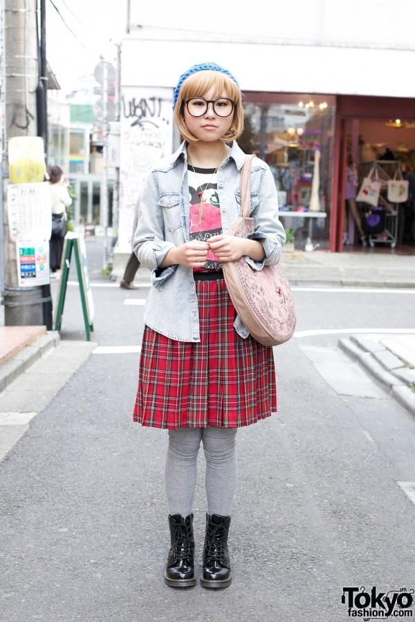 Spinns Denim Shirt, Pleated Plaid Skirt & White Rabbit Purse