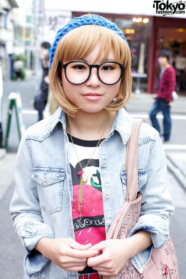 Oversized glasses & beret in Harajuku