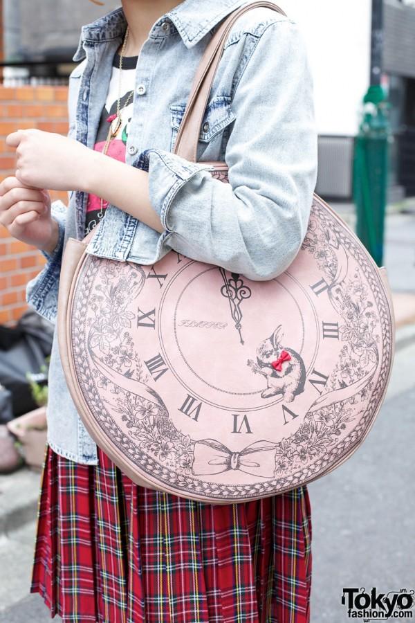 Circular purse w/ white rabbit graphics