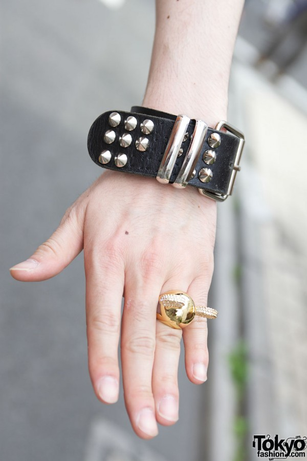 Studded Leather Bracelet in Harajuku