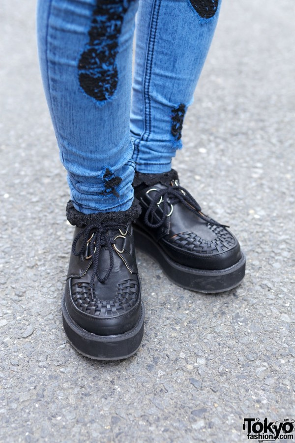 Gyda lace-trimmed jeans & black creepers