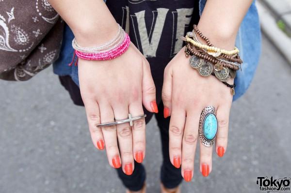 Coin bracelet, beaded bracelets & rings
