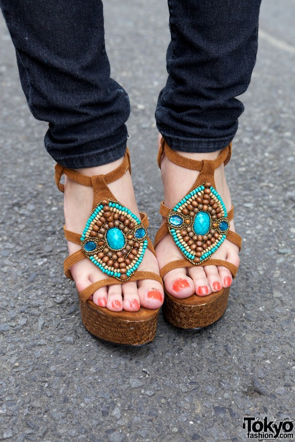 One Way jewelled platform sandals