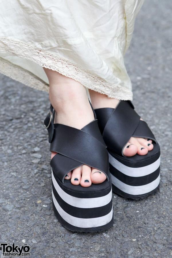 Black & white platform sandals