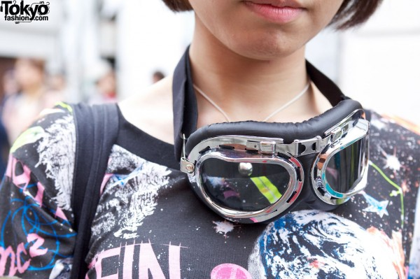 Girl with goggles in Harajuku