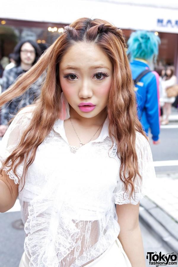 Gyaru's Pink Lipstick & Sheer Top