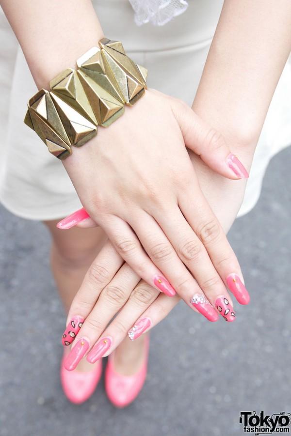 Pink Leopard Print Japanese Nail Art