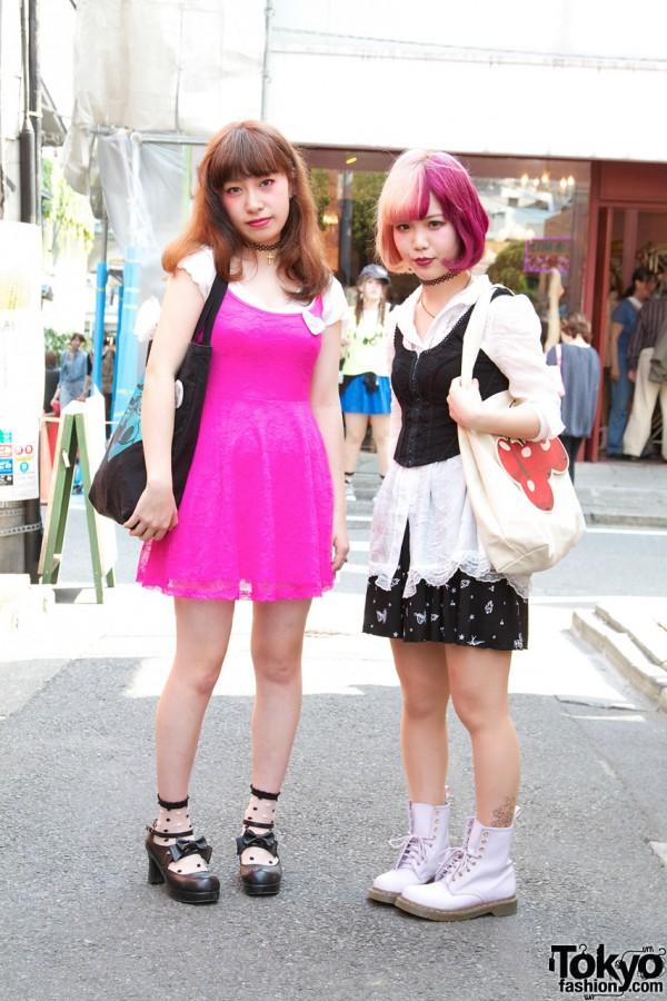 Girls in Pink H&M dress, black Kinji buster & WEGO skirt