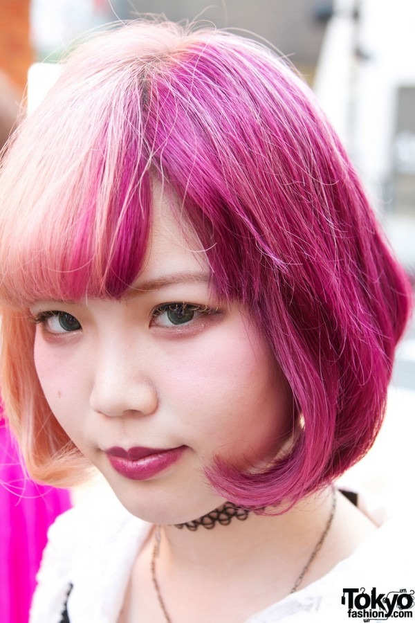 Girl's pink & blonde hair in Harajuku