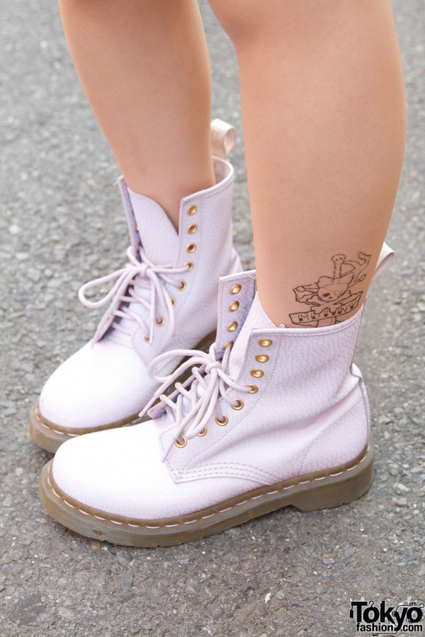 White Dr. Martens boots & tattoo